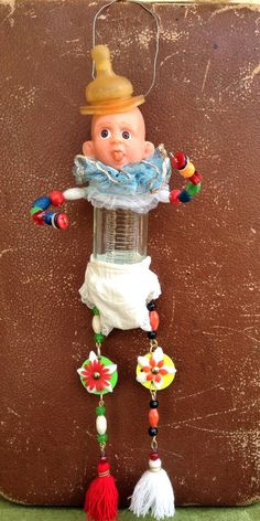 Assemblage doll.Assemblage art.Found object. Assemblage Art Doll Kitsch One-of-a-kind Mixed Media Sculpture.Nursery decor.Handmade art doll