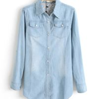 Blusa Jeans_Azul Claro