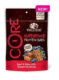 Wellness Natural Pet Food CORE Superfood Protein Bars Beef & Bison With Blueberries Recipe--Perfect Pairings of Hearty Proteins and Delicious Superfoods! They're only 16 calories each and Made in the U.S.A. Learn more: http://weln.es/1lptUFi
