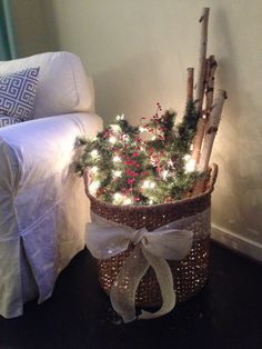 Birch wood, garland & lights in a basket- LOVE! Christmas Baskets, Noel Christmas, Country Christmas, Christmas Wreaths, Christmas Craft Projects, Diy Holz, Christmas Inspiration, Xmas Decorations, Branches