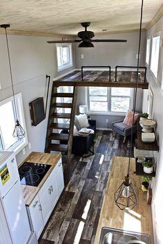 Cool tiny house design ideas to inspire you 30 - GODIYGO.COM Design Interior Small House Tyni House, Tiny House Living, Living Room, Small Living, Tiny House Loft, Living Spaces, Shack House, Garage To Living Space, Tiny House Stairs