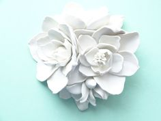 Magnolia Bouquet Wall Sculpture  White Magnolia by LayersOfClay