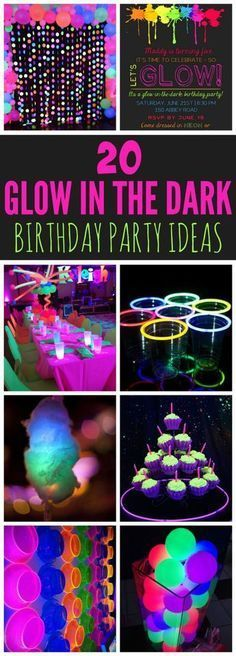 These 20 Epic Glow In The Dark Party Ideas are perfect for a tween or teen birthday. Here you will find everything you need to create the perfect party! Kids Party Games, Birthday Party Games, Unicorn Birthday Parties, Birthday Party Invitations, Party Party, 17th Birthday, Sleepover Party, Teen Birthday, Birthday Cakes
