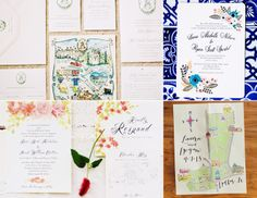 custom-illustrated maps that include directions from the ceremony to the reception or fun landmarks in and around your town.