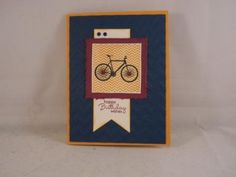 Bicycle Birthday Card using Stampin' Up! supplies (except for rhinestones) https://www.etsy.com/shop/moww