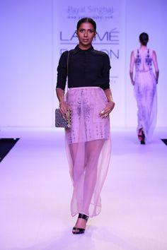 SUHANI Black crepe shirt with rose organza skirt and Sahara print silk mul organza lining www.payalsinghal.com/off-the-runway/suhani
