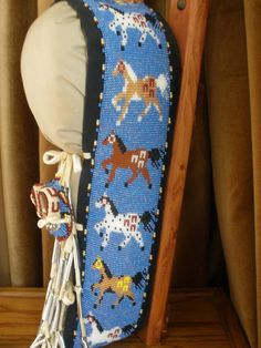 Native American Indian beaded HORSE decorative cradle board!!