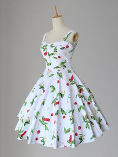 Maggie Tang Women's 1950s Cherry and Floral Print Vintage Rockabilly Dress: Women's Clothing: Fashion