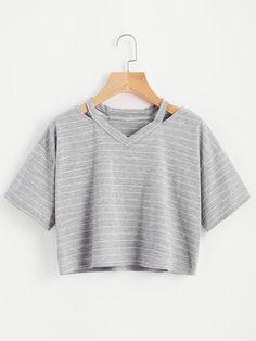Tee-shirt découpé à rayures-French SheIn(Sheinside)