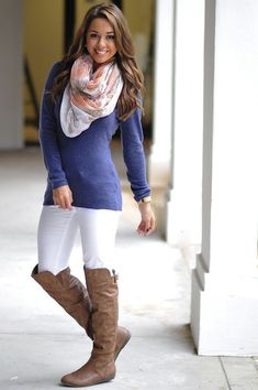 Super cute and great for every day wear. Love the Blue and scarf