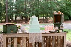 Use weathered crate for a sweets table.  Top with old drawers,  lace, cake plates, and flowers to add height and texture.  Great way to repurpose for a country sheek wedding!