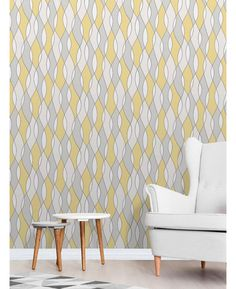 This Apex Wave Geometric Wallpaper in tones of yellow, white and grey features a contemporary geometric pattern with a metallic outline. Free UK delivery available