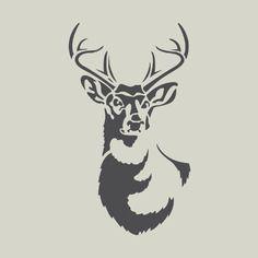 Cerf. pochoir de cerf. dessin de cerf. tête de cerf (ref 344-3)