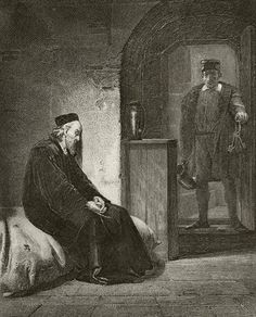 """7 May 1535- Sir Thomas More meets with Cromwell and four others in a room at the Tower.  He was told that Henry VIII demanded his opinion on the recently enacted Act of Supremacy.  More said that he refused to """"meddle"""" in such affairs.  Although told that the king would be merciful if he consented to the Act, More says that his whole concern now is for his living the best possible Christian life."""