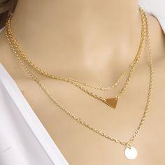 Stylish Women's Round Triangle Pendant Layered Necklace