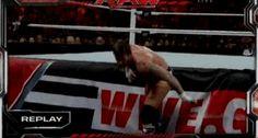 Roman Reigns' spear on CM Punk [Gif]