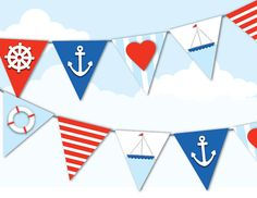 PRINTABLE NAUTICAL BUNTING Sailor, Navy, Red, White and Blue, 4th of July, Heart, Anchor, Sail Boat, Stripes, Lift Saver, Party Decoration