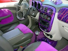 wild custom purple PT cruiser interior