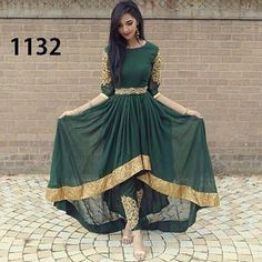 FatimaBi Plus size Fashion Indian Wedding Embroidery Green Anarkali Kameez Dress Stylish Dresses, Fashion Dresses, Dresses For Work, Stylish Outfits, Fashion Top, Fashion Night, Pretty Dresses, Indian Attire, Indian Wear