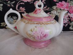 vintage shabby pink roses lefton teapot