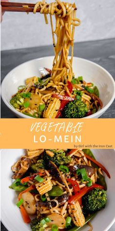 This better than take-out vegetable lo Mein is packed with veggies and the most delicious sauce! Better than take out vegetable lo mein, full of vegetables, full of flavor. Tasty Vegetarian Recipes, Vegan Dinner Recipes, Vegetarian Recipes Dinner, Veggie Recipes, Whole Food Recipes, Cooking Recipes, Healthy Recipes, Broccoli Recipes, Dinner Healthy