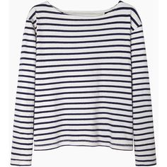 Wood Wood Adrian Contrast Stripe Longsleeve (€62) ❤ liked on Polyvore featuring tops, shirts, sweaters, long sleeves, boatneck top, long length shirts, long-sleeve peplum tops, nautical striped shirt and long sleeve tops