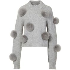 Tibi Alpaca Pom Pom Cropped Sweater ($450) ❤ liked on Polyvore featuring tops, sweaters, ribbed sweater, ivory crop top, ribbed crop top, crop top and pom pom pullover