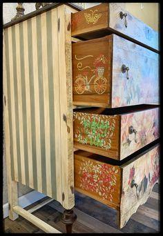SOLD Hand painted antique floral dresser | Etsy Hand Painted Furniture, Funky Furniture, Paint Furniture, Repurposed Furniture, Shabby Chic Furniture, Furniture Projects, Rustic Furniture, Furniture Makeover, Antique Furniture