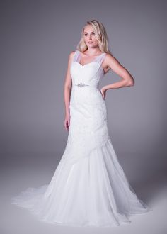 Bride&co wedding dress, Sweetheart shape with sheer straps, fit & flare wedding gown.