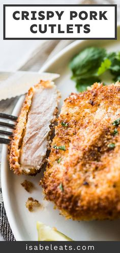 These breaded pork cutlets are made with crispy seasoned panko breadcrumbs on the outside and juicy tender pork on the inside. Ready in only 30 minutes, this quick and easy dish is a dinnertime favorite! #breadedporkcutlets #pork