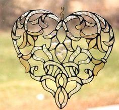 Stained Glass Heart Suncatcher Art Nouveau Glass Art Window Ornament - Made To Order Wedding Gift, Anniversary, Gardener.