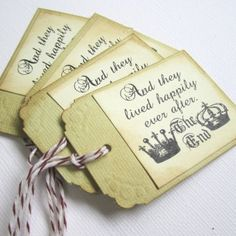 """Happily Ever After Fairytale Wedding Favor or Escort Tags.  If you plan for a fairytale wedding, these vintage inspired tags maybe just for you. Each tag says """"And They Lived Happily Ever After...the end"""", adorned with crowns for the king and queen. After all the groom and bride are the royal of the day. These wedding tags can be used as escort tags or wish tree tags as well. The back of the tag is left blank."""