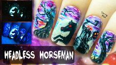 Headless Horseman ⎮ Halloween Glow in the Dark Freehand Nail Art Tutorial