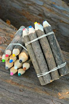 Pine Tree Branch Crayons  We are loving these beautiful Fair Trade Pine Tree Branch Crayons from Ecuador. The sticks used to make these crayons are collected during the pruning process, which helps trees to grow.  Rafael Cuyo is one of the talented Ecuadorian artisans who creates these whimsical crayons. Rafael earns a living wage for his handiwork.
