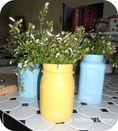 I'm mad for Mason Jar crafts! Want to join me in my Mason Jar crafts addiction? Mason Jar Garden, Mason Jar Art, Mason Jar Planter, Mason Jar Storage, Mason Jar Kitchen, Vintage Mason Jars, Mason Jar Flowers, Mason Jar Crafts, Flower Pots