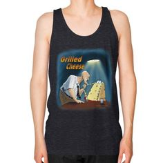"WordPlay ""Grilled Cheese"" Unisex Fine Jersey Tank (on man) designed by Neal Fox & Ron Kule"