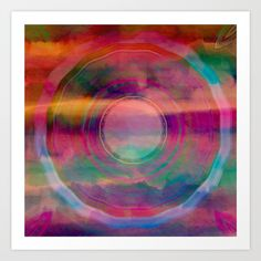 Bright Rainbow Color Mandala Watercolor Abstract - $16.99