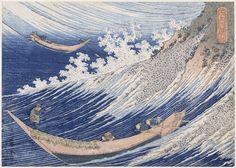 «Chōshi dans la province de Sōshū» Série: Mille images de la mer Chie no umi Sōshū chōshi|Les vagues sont parmi les œuvres les plus connues d'Hokusai. Elles font partie de ses plus belles allégories, et montrent la puissance de la nature. Leur résonnance est encore plus forte aujourd'hui, après les événements de 2011, quand un tsunami a frappé la côte est du Japon.