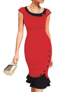 Round Neck Blended  Bodycon-dress