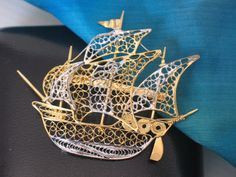 gold silver filigree ship brooch liguria italy by LIGONaccessories, $65.00