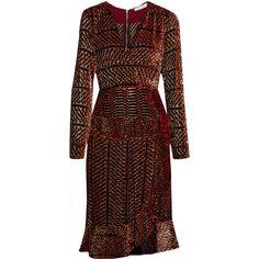 Altuzarra Farley fluted metallic devoré-georgette dress (907.280 HUF) ❤ liked on Polyvore featuring dresses, altuzarra, burgundy, georgette dress, asymmetrical dress, burgundy wrap dress, brown ruffle dress and burgundy dress