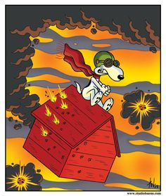 """Curse You Red Baron."" Snoopy fighting the Red Baron"