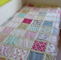 Fusion quilt patchwork with crochet border Tilda fabric Crochet Bedspread, Crochet Fabric, Crochet Quilt, Blanket Crochet, Patchwork Quilt, Patchwork Cushion, Quilts, Crochet Borders, Crochet Squares