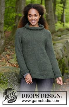Woodland Walk / DROPS - Knitted jumper with raglan, high collar and A-shape, knitted top down. Size: S - XXXL Piece is knitted in 1 strand DROPS Alpaca and 1 strand DROPS Kid-Silk. Free Knitting Patterns For Women, Knitting Designs, Crochet Patterns, Drops Design, Jumpers For Women, Sweaters For Women, Drops Kid Silk, Crochet Design, Magazine Drops
