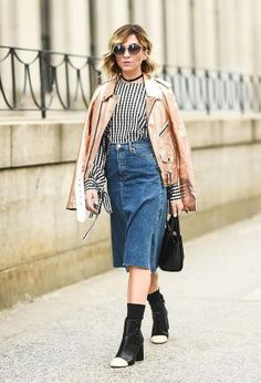 Get inspired to style your jeans in different ways with our street style denim guide. With stunning, real denim looks to inspire your everyday style.: Wear a Midi Length Denim Skirt
