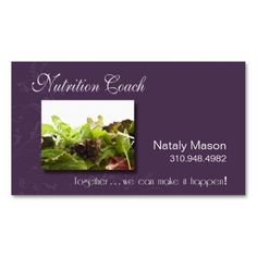 """""""Nutrition Coach"""" Healthy Eating, Weight Loss Business Cards. This is a fully customizable business card and available on several paper types for your needs. You can upload your own image or use the image as is. Just click this template to get started!"""
