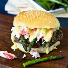 Oscar-Style Burgers by foodiebride, via Flickr...asparagus and snowcrab over burger