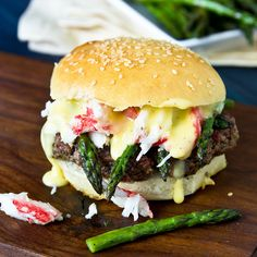 Filet Oscar: beef tenderloin topped with crab, asparagus tips, and Bearnaise sauce.