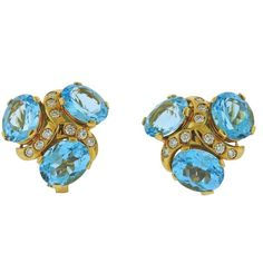 Verdura Blue Topaz Diamond Gold Earrings