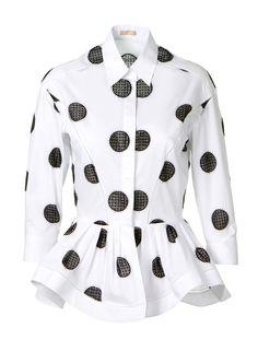 Azzedine Alaïa Shirts :: Azzedine Alaïa white polka dots cotton-poplin shirt | Montaigne Market